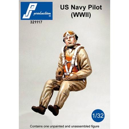 321117 - Pilote US Navy assis aux commandes (2e GM)